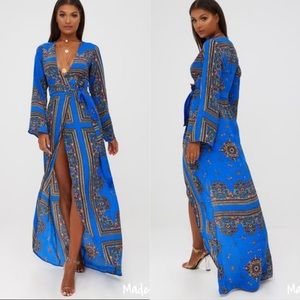 PrettyLittleThing | Cobalt Print Kimono Maxi Dress
